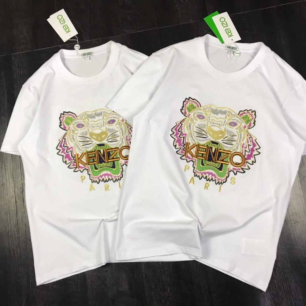 4743d5ab Men and women new tiger head gold thread embroidery couple models short  T-shirt mercerized cotton fabric S M L XL