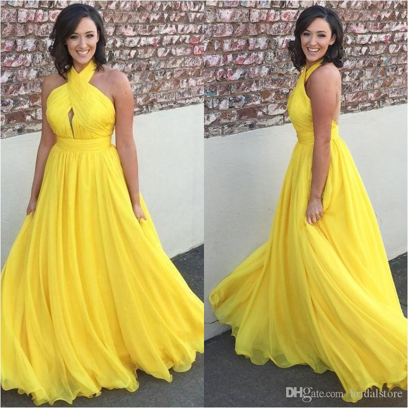 6acc5c20db Yellow Plus Size Chiffon Prom Dresses Cheap A Line Halter Pleated Flowy  Floor Length Backless Formal Dress Evening Wear Gowns Vestidos Long Long  Red Prom ...