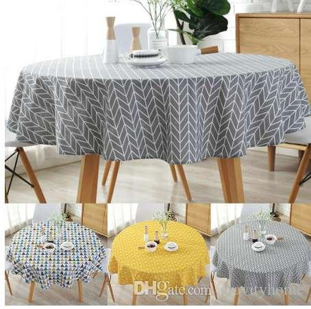 Nordic Polyester Cotton Round Table Cloth Color Yellow Rice Word Gray Arrow  Cotton And Linen Printing Tablecloth Custom