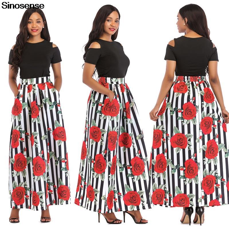 677baa1e851f New Summer Floral Print Two Piece Set 2019 Short Sleeve T Shirt + Long Skirt  Suits Ladies Elegant OL Style 2 Piece Dress Set