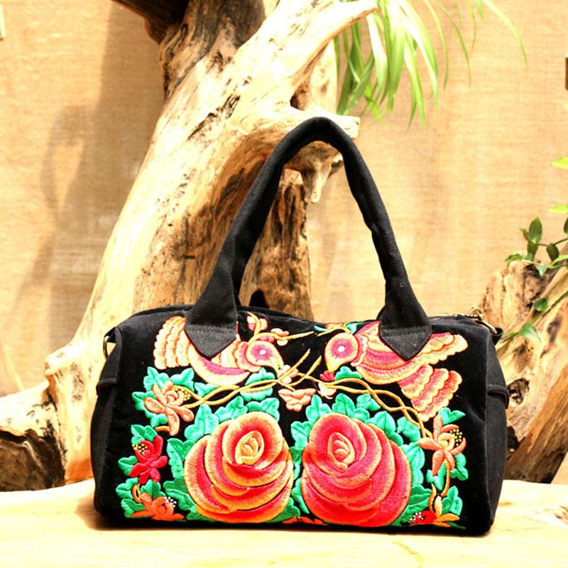 lady black Handbag bag female Flowers bags for women Zipper female Fashion Embroidered Handbag Shoulder Bag Tote Ladies Purse