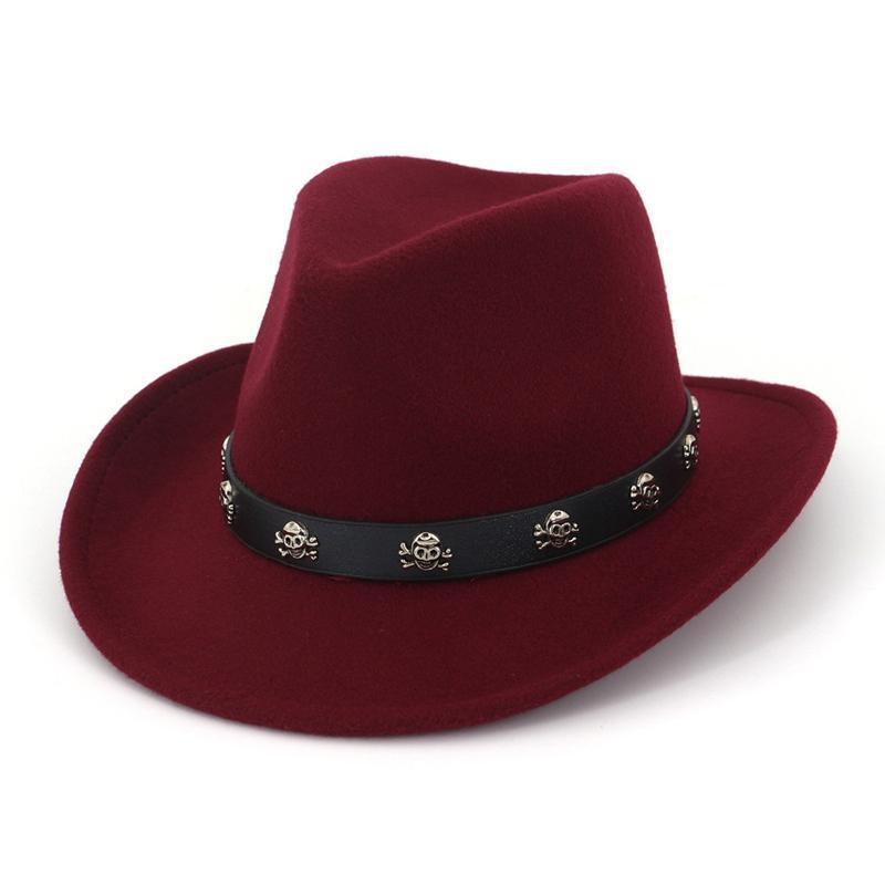 e7a806a5ce15f Compre Moda Aba Larga Fedora Cowboy Chapéu De Feltro De Lã Ocidental Cap  Barato Cavaleiro Estilo Britânico Jazz Formal Chapéus Sombrero Para  Mulheres Dos ...