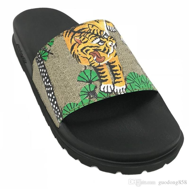 mens and womens fashion bengal tiger and trees print leather trek rubber Slide Sandals slippers With thick moulded rubber foot bed