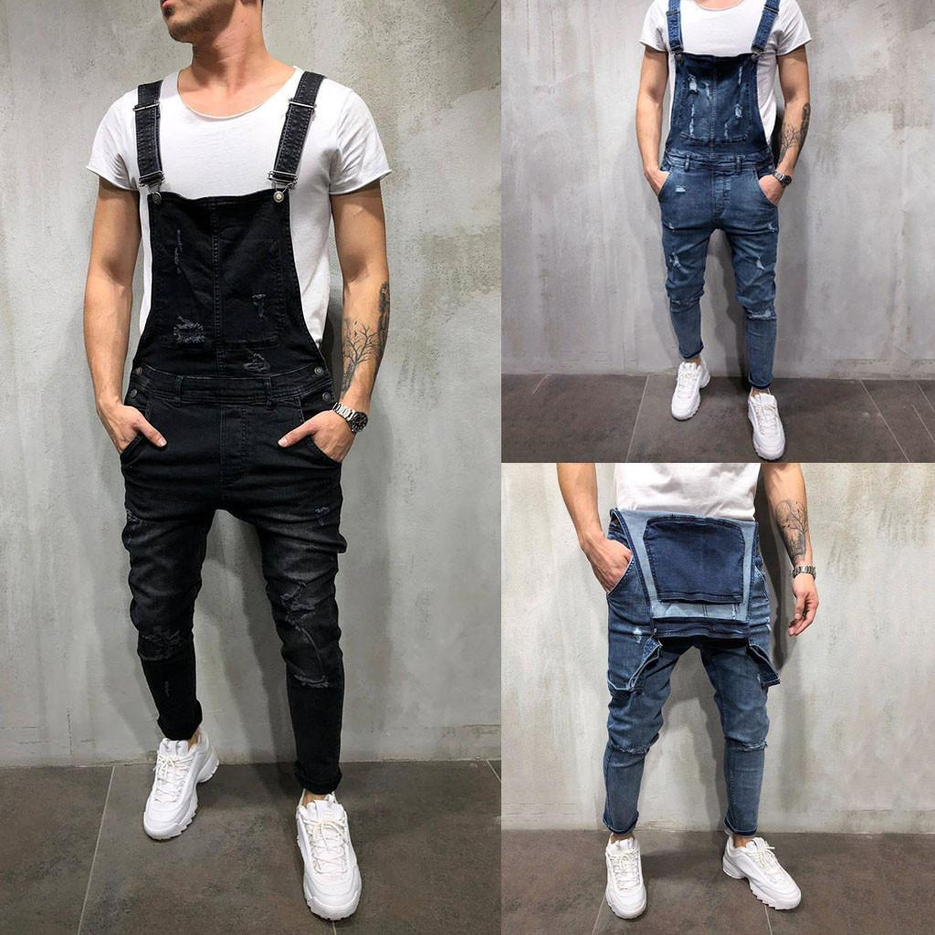 81b0c93f98df 2019 DropShip KLV Men S Overall Casual Jumpsuit Jeans Wash Broken Pocket  Trousers Suspender Pants Mid Skinny Pencil Pants Full Length From Suspender
