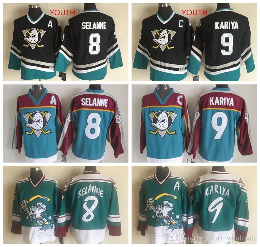 best cheap 464a9 7391d Stitched Vintage Anaheim Ducks Jerseys Teemu Selanne Jerseys Paul Kariya  CCM Mighty Ducks hockey Jerseys Man And Youth