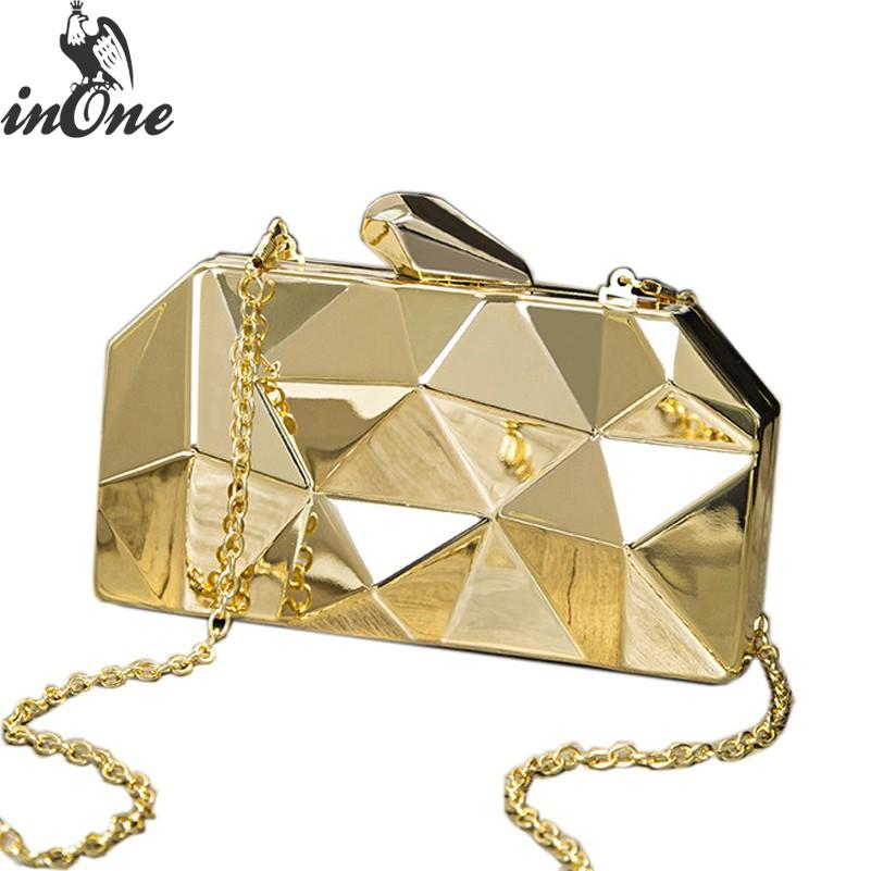 Irregular Metal Handbags ClutchesTop Quality Hexagon Wedding Bridal Party Evening Purse Silver Bags for Women 2019 Mini Gold Box