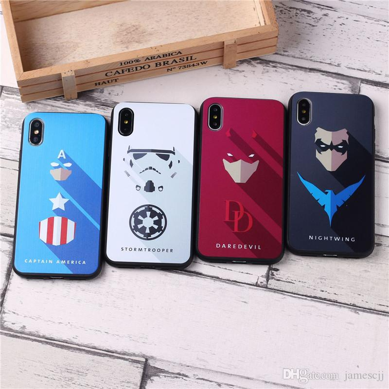 Creative Super hero Crashproof Frosted Back Cover TPU Cell Phone Cases Protective Covers For Apple iPhone X XR XS MAX 6 6S 7 8 PLUS