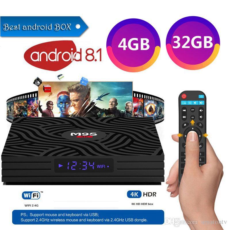 2019 New Arrival Android 8 1 TV Box M9S Y1 TV box RK3328 Quad Core CPU 4GB  Ram 32GB Rom Flash Memory Bluetooth 4 0 Smart Media Player