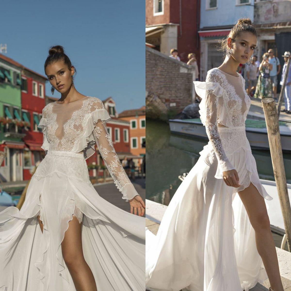 rivenditore all'ingrosso e4630 4b581 Pinella Passaro 2019 Beach Wedding Dresses Sheer Jewel Neck Lace Long  Sleeve Bridal Gowns Sexy Thigh High Splits Boho Wedding Dress