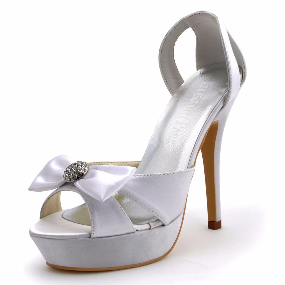 0a30de5ea5938 Compre Sandalias De Mujer Blanco Marfil Peep Toe Plataforma Stiletto Cristal  De Tacón Alto Damas De Novia Damas De Honor De La Boda Zapatos De Novia  EP2119 ...