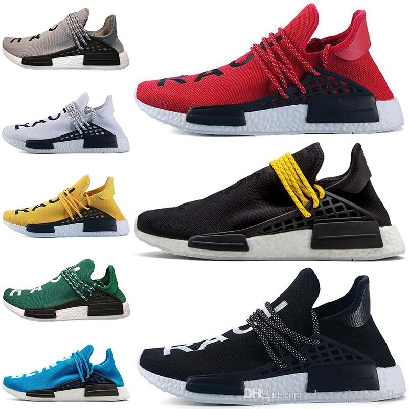 ae1e5b6a0dad0 2019 2019 Cheap Human Race Trail Running Shoes Men Women Pharrell Williams  HU Runner Yellow Black White Red Green Grey Blue Sports Sneaker 36 45 From  ...