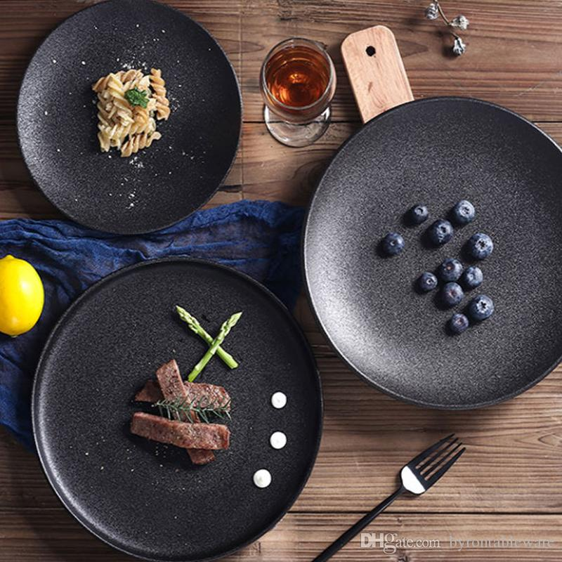 Cafe Jardin Decorative Mat: Acheter Assiette De Steak En Céramique Noir Mat Restaurant