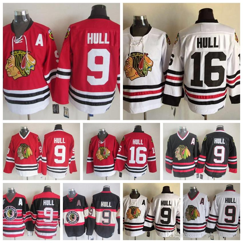 cheap for discount a045c 6a0b1 100% Embroidery Chicago Blackhawks Bobby Hull Hockey Jerseys #16 Vintage  CCM 9 Bobby Hull Jersey Winter Classic Red 75th Stitched A Patch