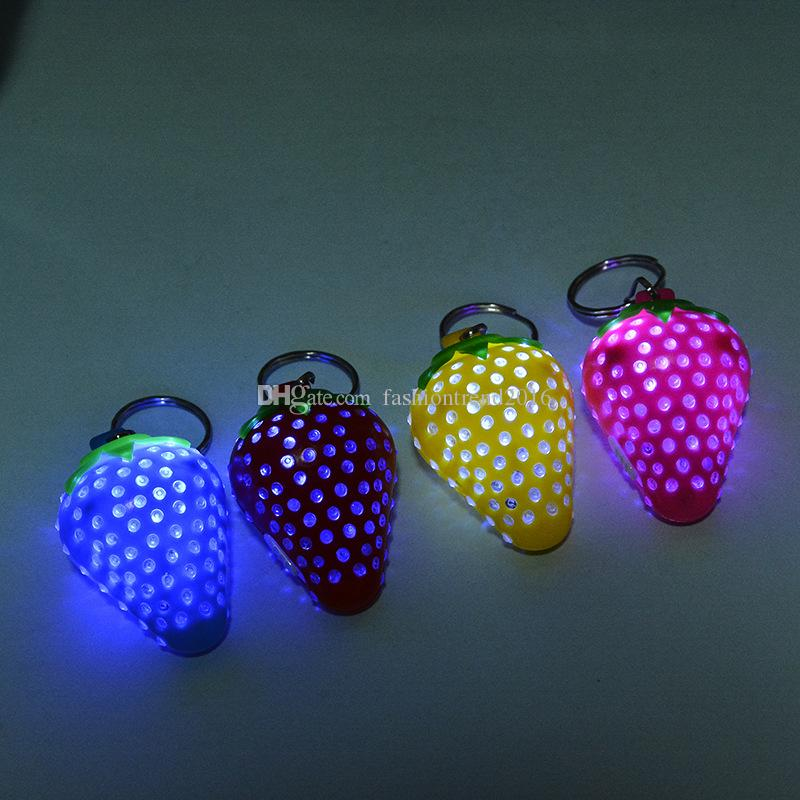 Luminous Novelty Strawberry LED Flashing Light Up Keychain Key Ring Cheap promotion Gifts Party Favor