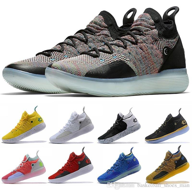 6a9e7e988f5 Mens KD 11 Basketball Shoes Black Grey Persian Violet Chlorine Blue Fashon Sneakers  Kevin Durant 11s Designer Shoes Mens Trainers Man Shoe 11 Shoes Sport ...