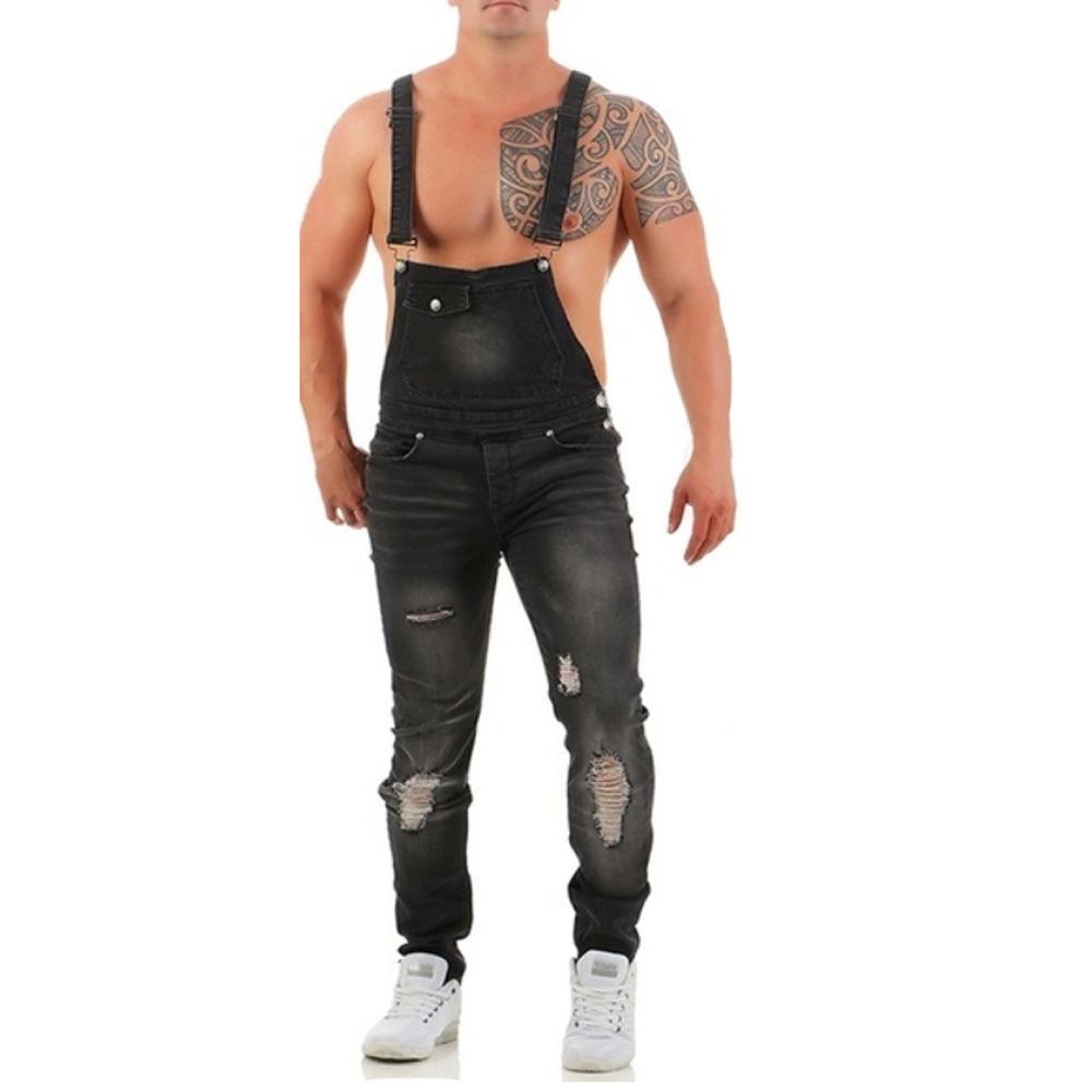 Pantaloni da uomo slim fit jeans Tute pantaloni della bretella con bretelle delle tute Skinny Jeans PLUS SIZE buono di vendita di moda