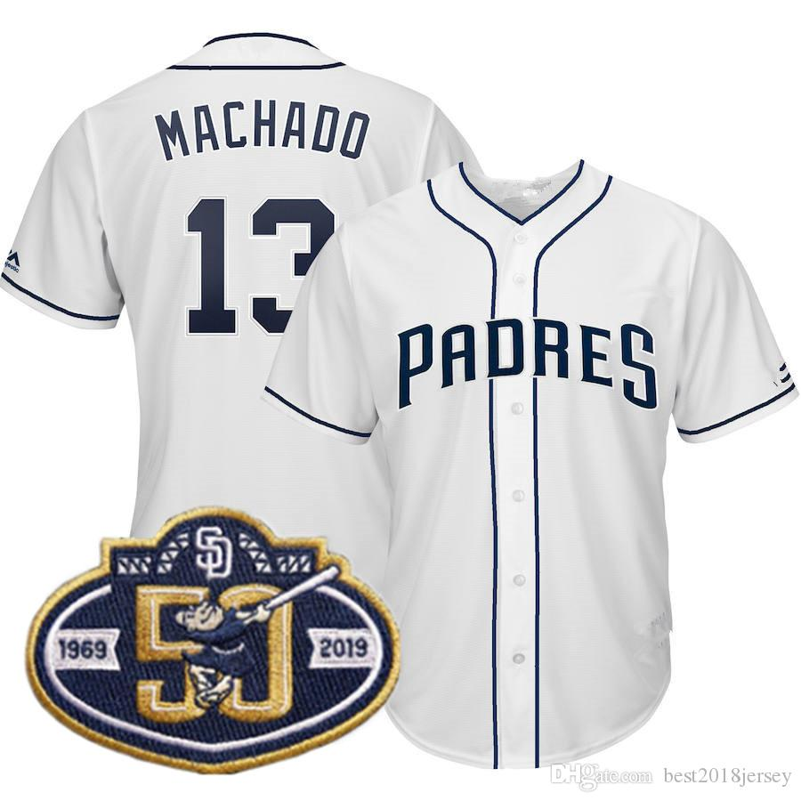 Mens San Diego 13 Manny Machado Padres Jersey 50th Patch 4 Wil ... c2f47a848