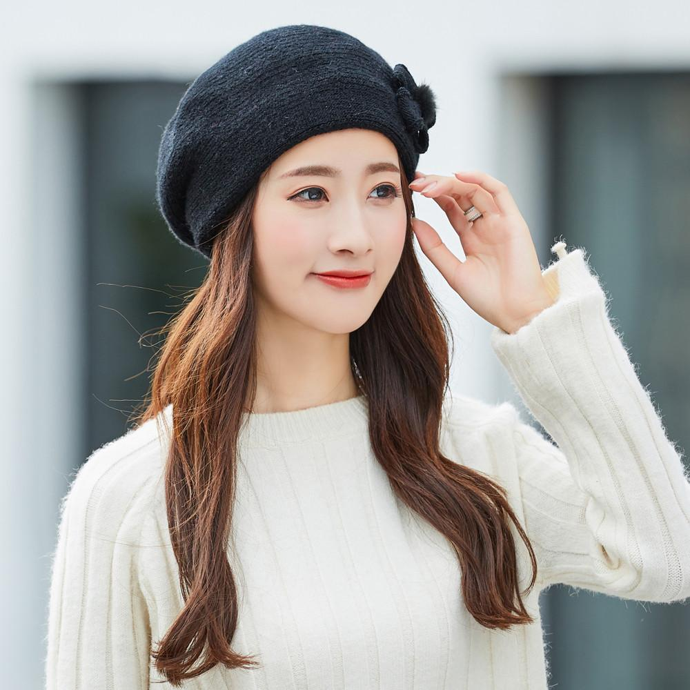 3af59af493bb1 2019 Women Winter Warm Bow Cap Beret Braided Baggy Knit Crochet Beanie Hat  Ski Cap Bow Rabbit Fur Beret  503 From Fotiaoqia