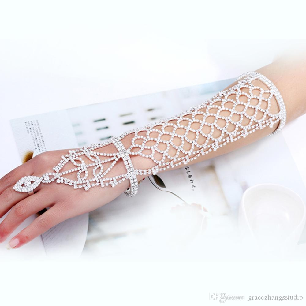 Diamonds Wedding Bracelets Luxury Women Bride Ring Bracelet Hand