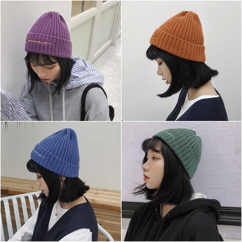 94a4d17132d Winter Caps Letter Embroidery Hat Female Solid Warm Soft Knitted ...