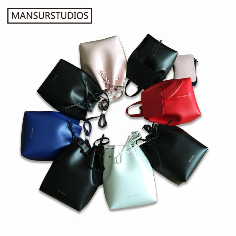 Newest Mansurstudios Bucket Bag, Mansur Women Split Leather Shoulder Bag ,gavriel Lady Real Leather Cross Bag, Free Shipping Y19052801