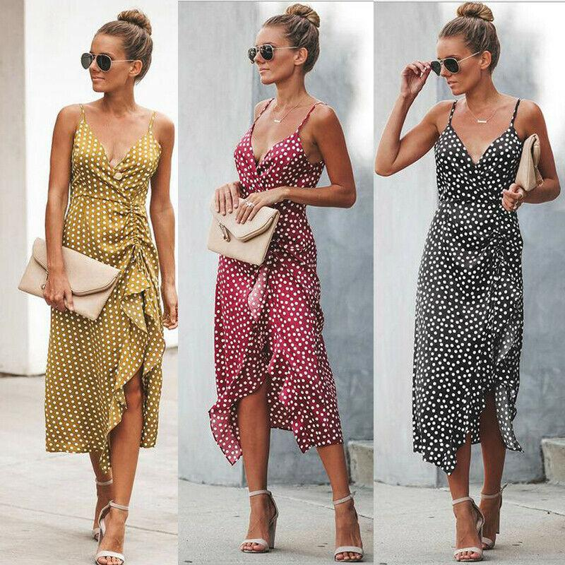 Women Maxi Dresses Deep V Neck Summer Beach Boho Wave Black Long Dress Sundress Woman Clothes