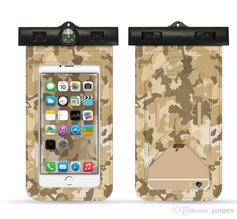 8824e276352 Protectores Para Celulares Funda Impermeable Universal Para IPhone XS X 8 7  6 Plus Samsung S8 Note Para Huawei Estuche A Prueba De Camuflaje Acuático  ...