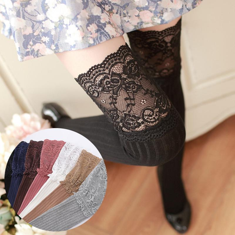 2c7b659eb New Fashion Striped Thigh High Stockings Women Lace Sexy Cotton Stocking  Autumn Winter Warm Knee Socks Over The Knee D19011701 Awesome Socks Black Knee  High ...