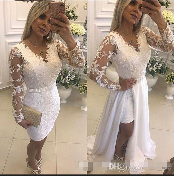 Lace Short Evening Dresses With Detachable Skirt Pearls Illusion Long Sleeve Sheath Formal Party Prom Gowns 2019 Hot Selling New