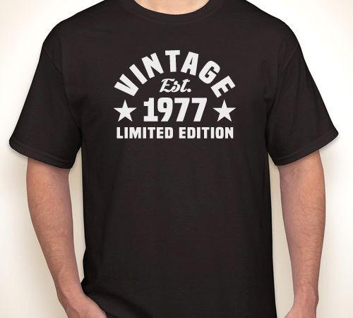 1977 Or Any Year Happy 40th Birthday Born Made In T Shirt S 5XL Funny Gift Short Sleeve Tops Round Neck Tees Best Shirts Online