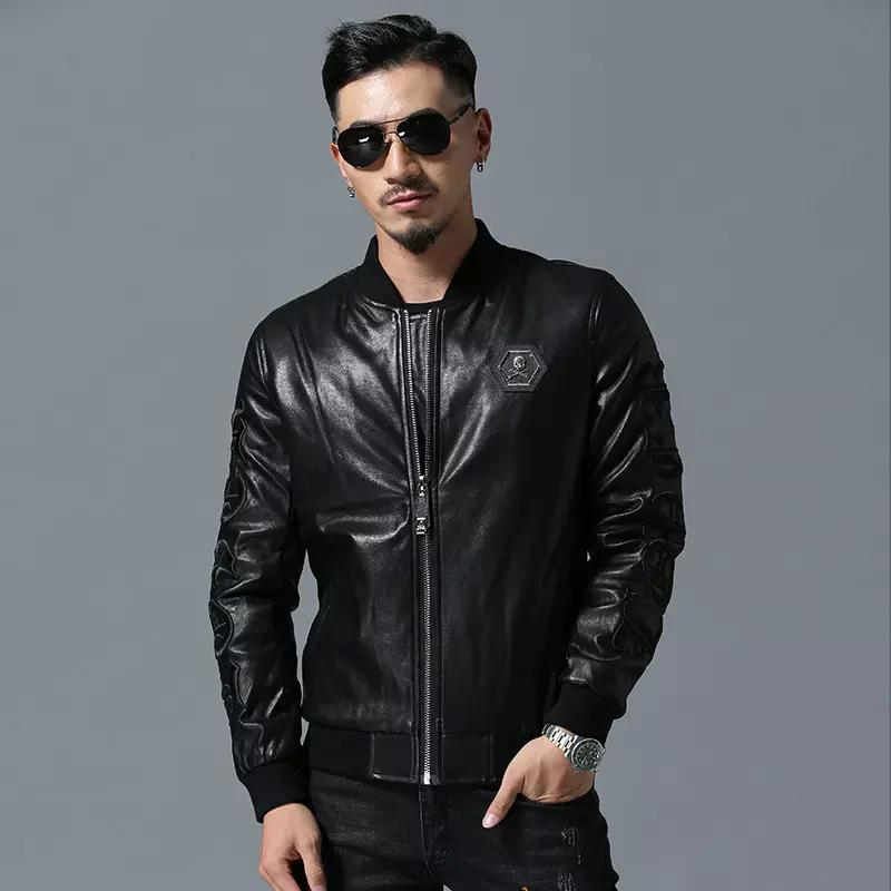 e354fc0a8c4 2019 2018 New Brand Mens Designer Leather Jackets Black Embroidery Baseball Collar  Coat Motorcycle Luxury Jacket Faux Windbreaker Coat Size M 3XL From ...