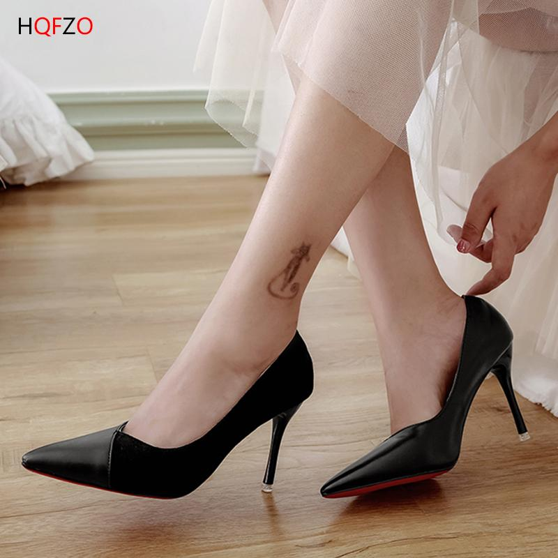 266f4606444e Dress Hqfzo Sexy Thin Heels Flock And Pu Slip On Shallow Office Shoes Party  Women Pumps Pointed Toe Shoes Ladies Mujer Black Red Prom Shoes Hiking Shoes  ...