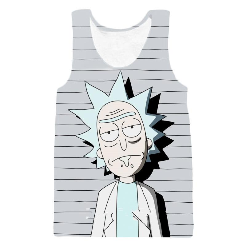 Newest Fashion Anime Rick And Morty Printed Tops Sleeveless Hollow Out O Neck Casual Tank 3d Vest Bodybuilding Fitness Sporting Shirts Z40