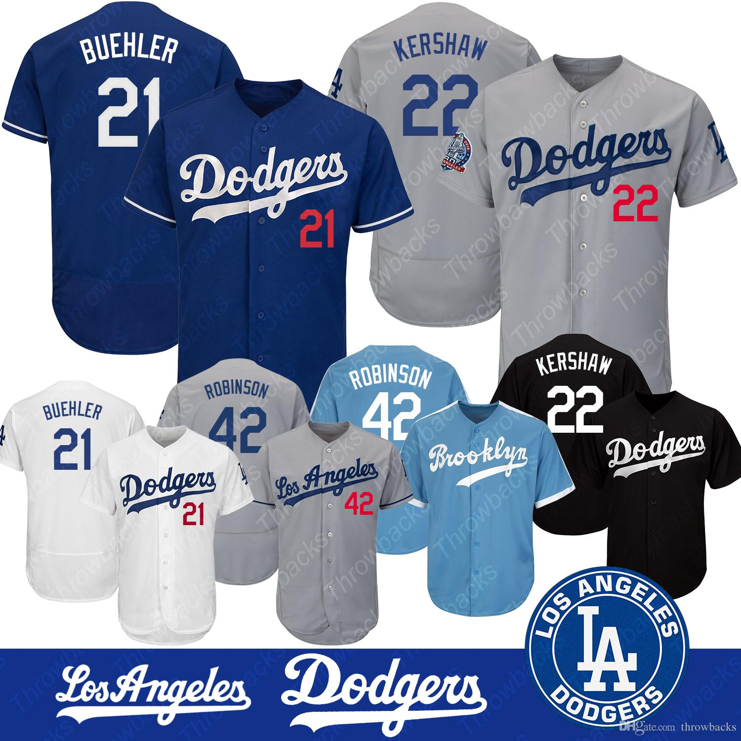 8cff8b60e22 Compre Camisa De Los Angeles Dodgers 42 Jackie Robinson 22 Clayton Kershaw  21 Camiseta De Basquete Walker Buehler Felxbase Cool Base De Throwbacks