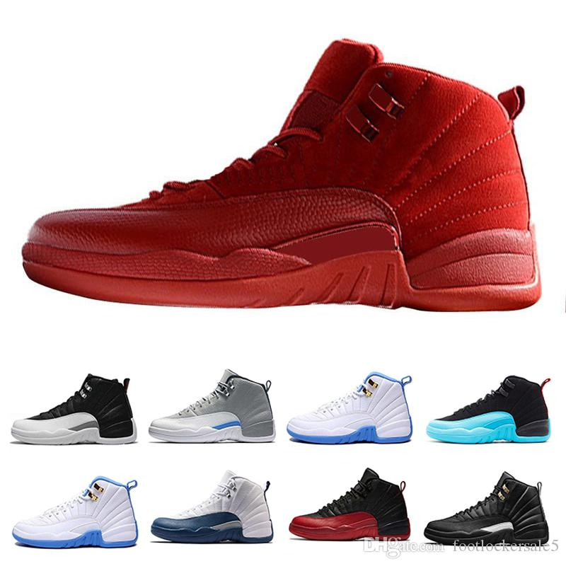 bb47a2a3a0a 2019 12s Mens Basketball Shoes Bordeaux Dark Grey Flu Game The Master Taxi Playoffs  French Blue Barons Royal Red Suede Sunrise Sports Sneakers From ...