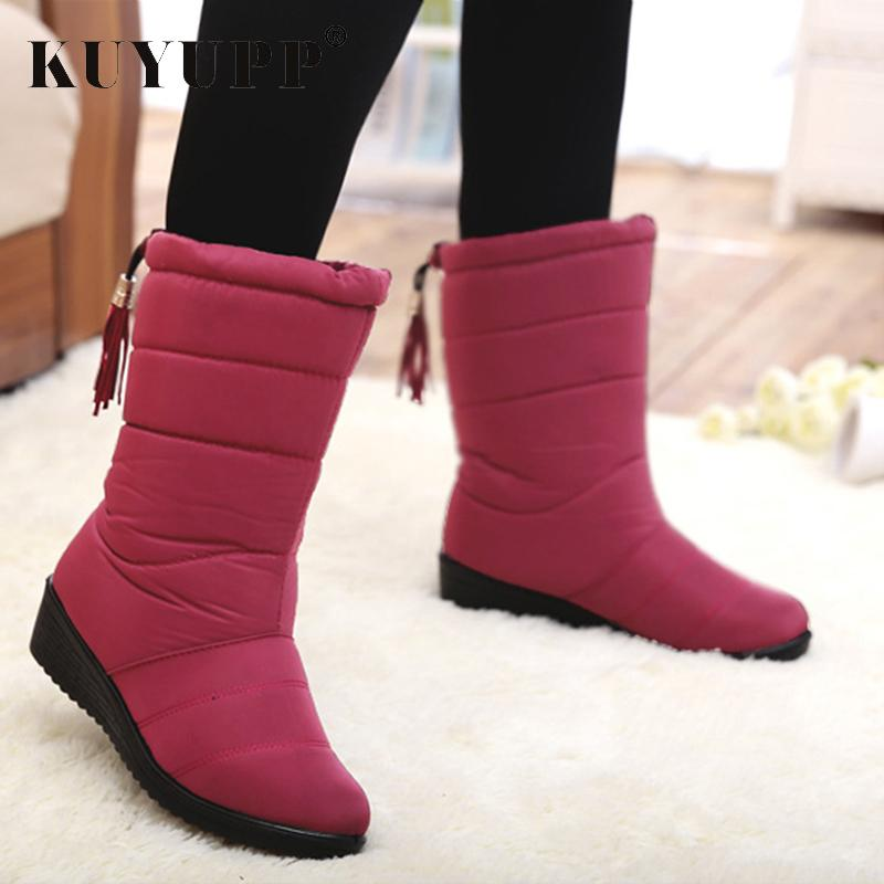 2019 Waterproof With Fur Women Snow Boots Winter Women Boot For Ladies Winter Shoes Female Slip On Mid-Calf Boots Woman Black KBT1051