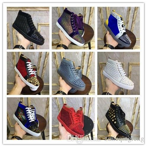 Brand High top designer luxury red bottoms men womens Studded Spikes Flats Casual shoes Party Lovers Genuine Leather high quality Sneakers