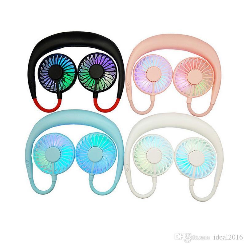 Küçük fan çift kafa led ışık giyilebilir size usb şarj aroma tembel asılı boyun fanı üç kuşak