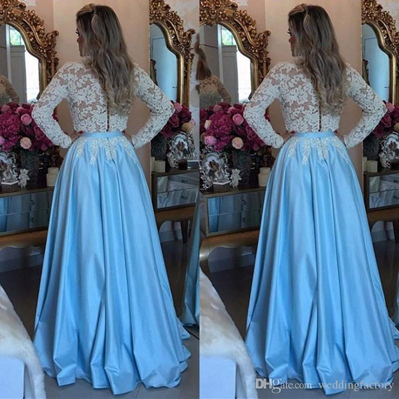 66e11c080971 2019 Modest Prom Dresses Long Sleeves Sheer Jewel Neck Lace Appliques Light  Sky Blue Floor Length Evening Party Gowns With Sash Backless Prom Dresses  Uk ...