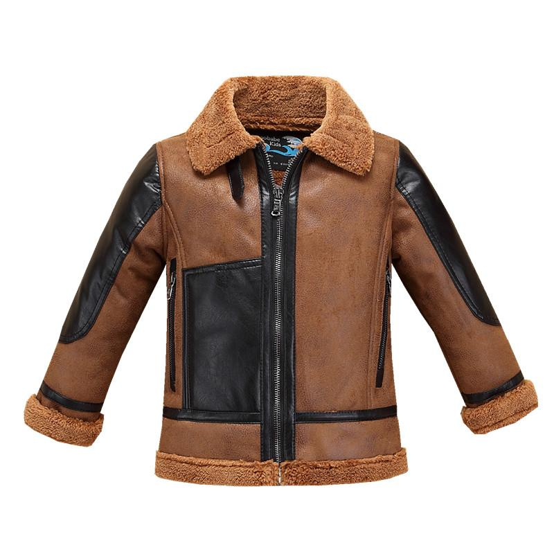 beb0442fb Pu Leather Faux Suede Big Boys Jacket Winter Fall Kids Coat Thick Thermal  Warm Children's Clothing