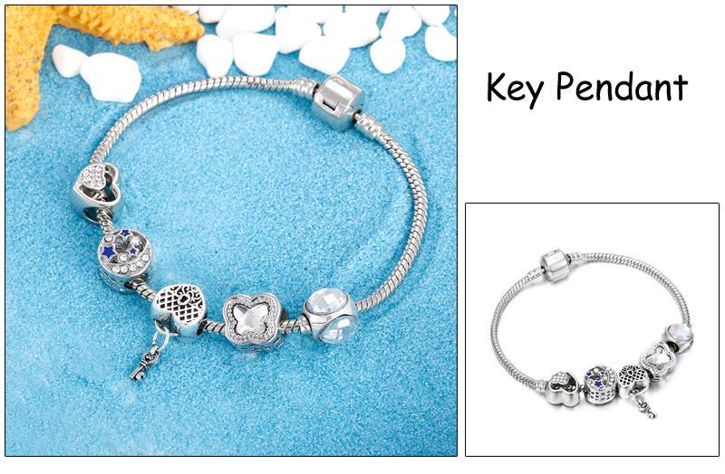 Charm Women Silver Snake Chain Bracelet Original Red Crystal Leaves Dragonfly Key Pendant Bracelets&Bangles Jewelry For Girl DIY
