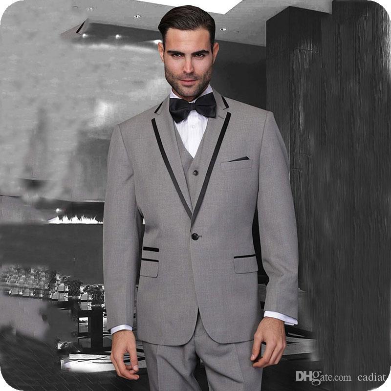 Acheter Dernières Manteau Pantalon Design Gris Hommes Costumes De Mariage  Noir Encolure Revers Slim Fit Mariée Tuxedos 3 Pièce Meilleur Homme Blazers  Veste ... 8a69d82212c