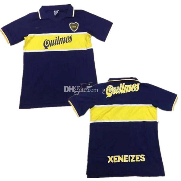 new product c110f fd5f8 97 98 Boca Juniors Retro Soccer Jersey Maradona Vintage Caniggia 1997 1996  1998 MAGLIA Classic Football Shirts Maillot Camiseta de Futbol
