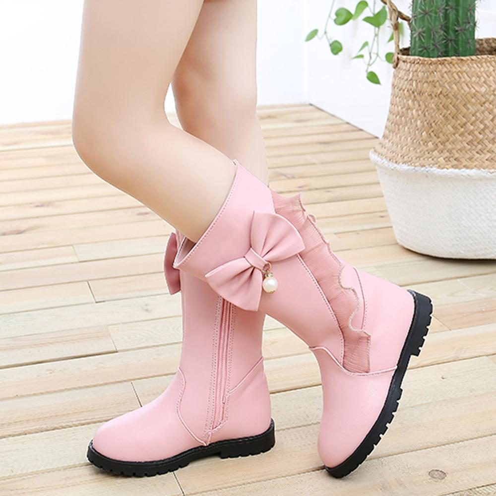 GIRLS WINTER WARM BOOTS MID CALF WARM FLAT WEDGE ZIP UP CASUAL FASHION BOW SHOES