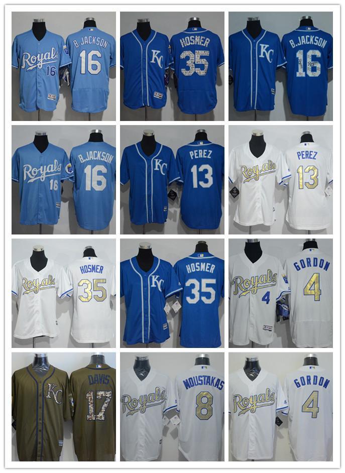 quality design 135a6 5dc87 Royals Jersey 16# Bo Jackson 13# Salvador Perez 6# Lorenzo Cain Jersey 8#  Moustakas 35# Eric Hosmer 4# Alex Gordon 17# Wade Davis Jersey