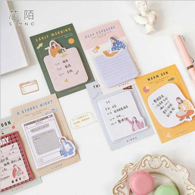 wholesale stationery 20 Sets/1lot Workplace Small Person Series Memo Pad Sticky Notes Escolar Papelaria School Supply Bookmark Notepad Label