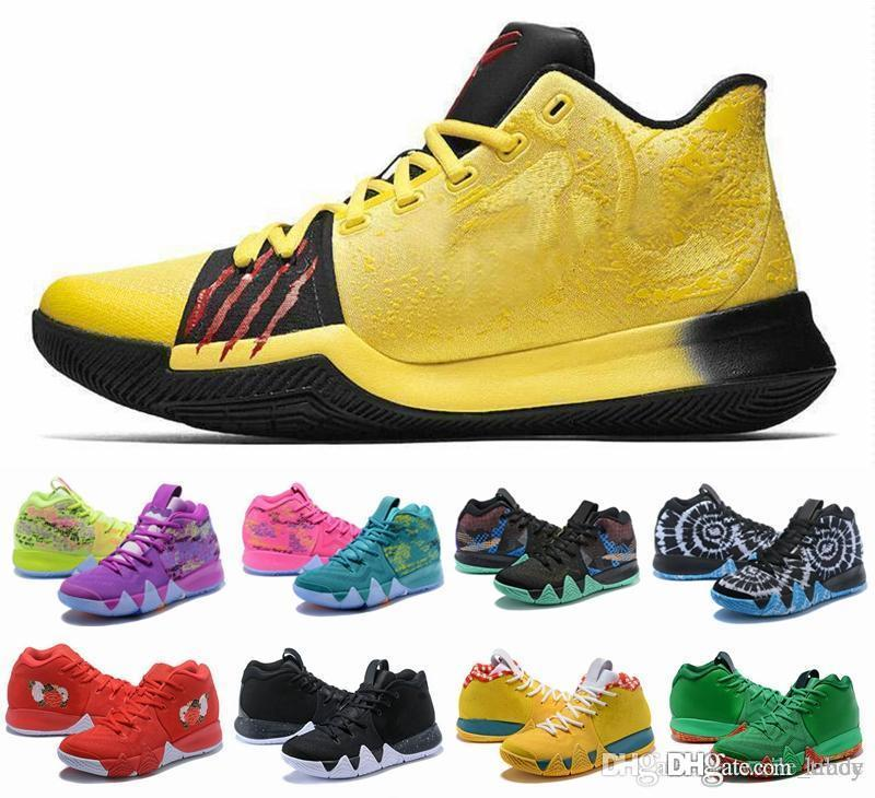los angeles d3e6c fa817 Acquista 2018 New Kyrie Mens Scarpe Da Pallacanestro Irving IV 4 Multicolor  Black Moon White Gold 4s Uomo Sneakers Sportive Sneaker Kyries Chaussures A  ...