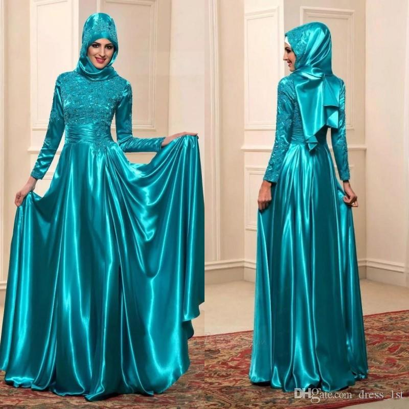 080afb07a Compre Elegante 2019 Azul Turquesa Vestidos De Noche De Manga Larga Para  Mujeres Musulmanas High Nedk A Line Esmeralda Cristales Encaje Y Elástico  Satinado ...