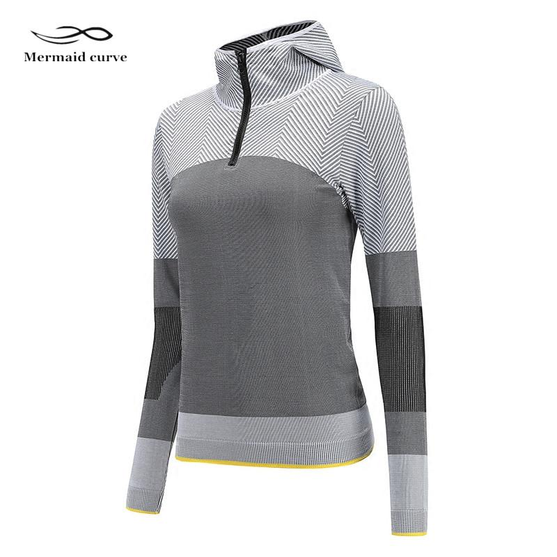 Mermaid Curve Women Gym Lettera Loose Sport T Shirt Fitness Donna Raccolto Yoga Tops Outdoor Tessuto in poliestere T-shirt da corsa