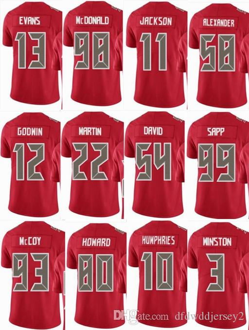 2018 BUCCANEER Tampa Bay  13 Mike Evans  3 Jameis Winston  58 Kwon  Alexander 11 DeSean Jackson Men Women Youth Color Rush Elite Football  Jerseys From ... 06453c3a8a